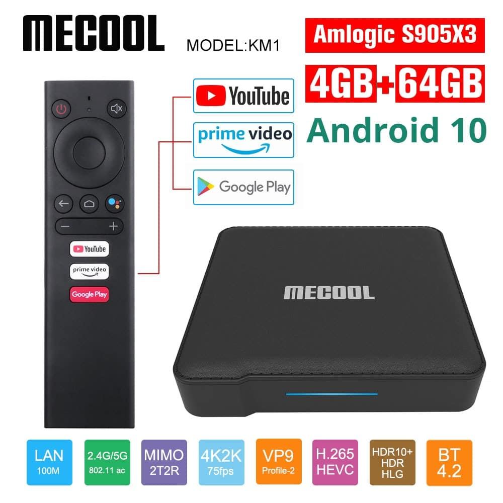 Mecool Google certifié KM1 android 10.0 4G 64G Amlogic S905X3 ATV box tv double Wifi 4K voix android tv boîte Youtube smart box
